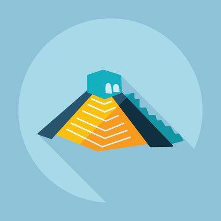 kukulkan: Flat modern design with shadow Mayan pyramids