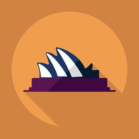 opera: Flat modern design with shadow Sydney Opera House