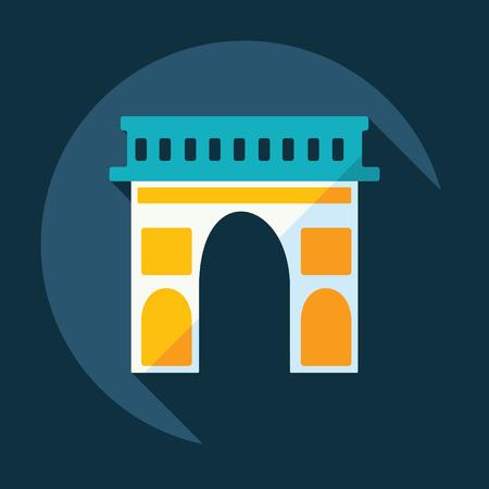 arc: Flat modern design with shadow Arc de Triomphe Illustration