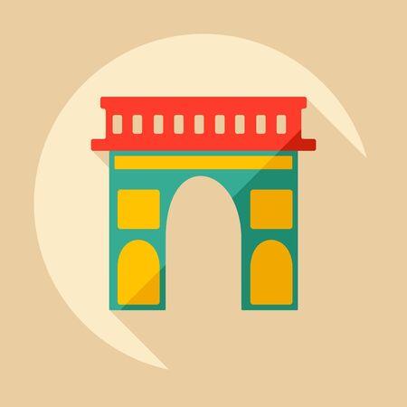 triumphe: Flat modern design with shadow Arc de Triomphe Illustration