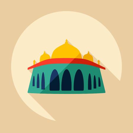 Flat modern design with shadow Humayuns mausoleum