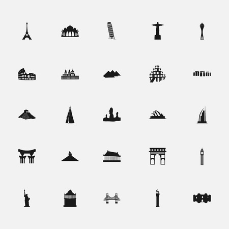 assemblage: black icons memorable places on a white background flat style