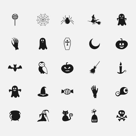 assemblage: black halloween icon on white background flat style