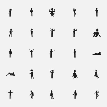 men body: black icon stick figure on a white background flat style