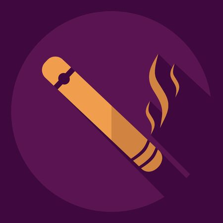 cuban cigar: Flat modern design with shadow  Icon cigar
