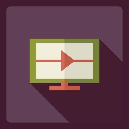 flat screen: Flat modern design with shadow  Icon screen