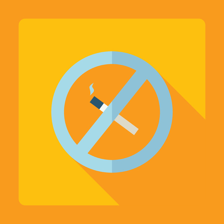 smoking ban: Flat modern design with shadow Icon symbol  smoking ban
