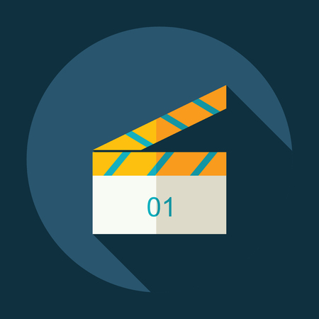 clapperboard: Flat modern design with shadow Icon clapperboard