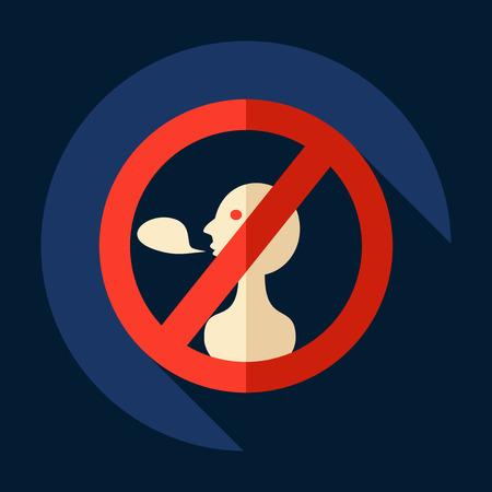 Flat modern design with shadow Icon  symbol ban talk