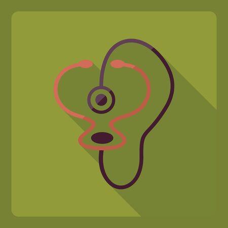 phonendoscope: Flat modern design with shadow Icon phonendoscope