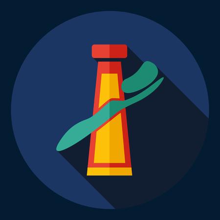 pasta dental: dise�o moderno plana con pasta de dientes sombra Icono