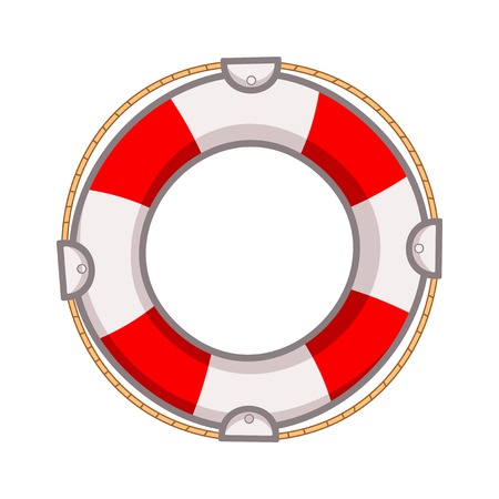 shipwreck: Lifebuoy on a white background with rope Illustration