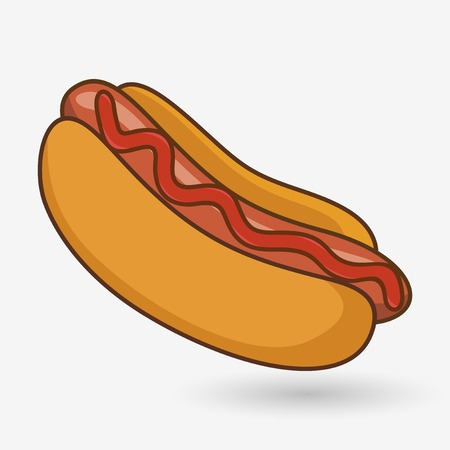 close up food: Hotdog with ketchup on a white background with shadow