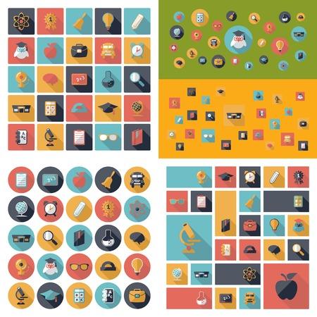 abstract academic: Set of flat design concept icons for education Illustration