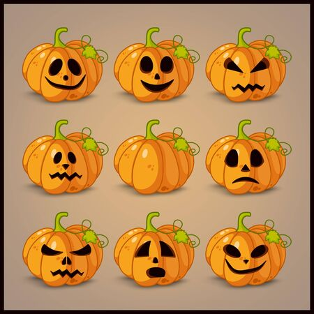 smilling: Poster, banner and background for pumpkins for Halloween