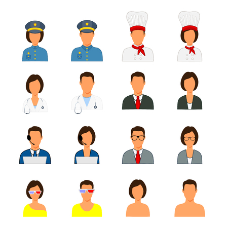 sedentary: Silhouettes of people of different professions police chefs doctor economists call center operators theater students Visitors without image. Illustration