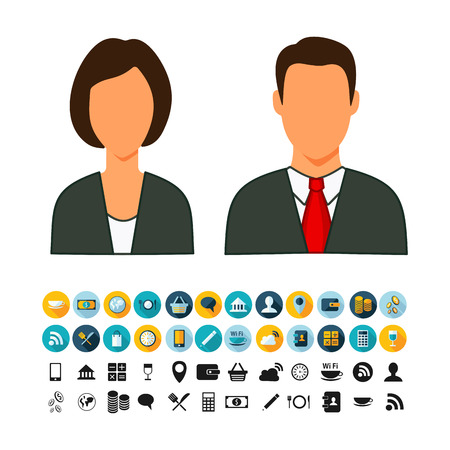 economist: Economist man and a woman with a set of icons on a theme sale flat. Illustration