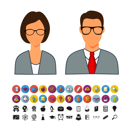 male and female students are with a set of icons on the theme of fast food flat.