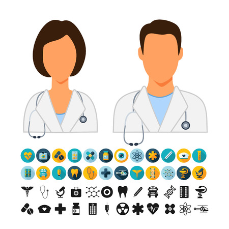 physicians: Doctors  Physicians Icons Vector set. Doctors  Physicians Icons Symbol set. Doctors  Physicians Icons Picture set. Doctors  Physicians Icon Image set. Doctors  Physicians Icons Shape set. Illustration