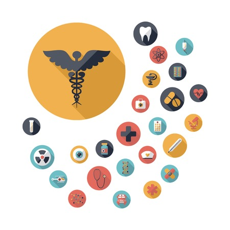 snake and a bowl: Set of flat design concept icons for medicine