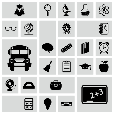primer: Set of black icons on white background of Education