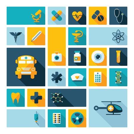sieve: Set of flat design concept icons for medicine
