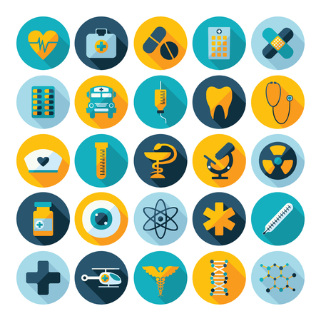 asclepius: Set of flat design concept icons for medicine