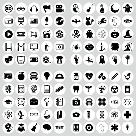 aide: set of plane icons. Education, medicine, halloween, movie and cinema Illustration