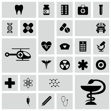 aide: Set of black icons on white background of medicine