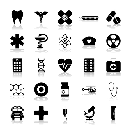 sieve: Set of black icons on white background of medicine