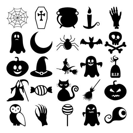 horrifying: Set of black icons on white background of halloween