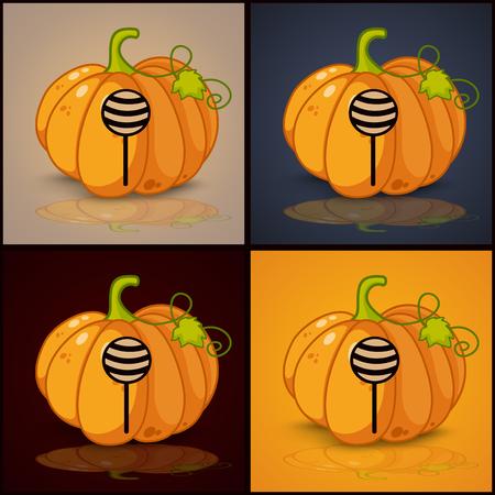 smilling: lollipop, banner and background for pumpkins for Halloween