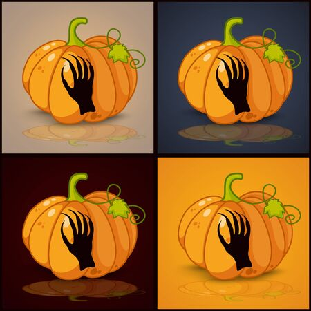 zombie hand: zombie hand, banner and background for pumpkins for Halloween