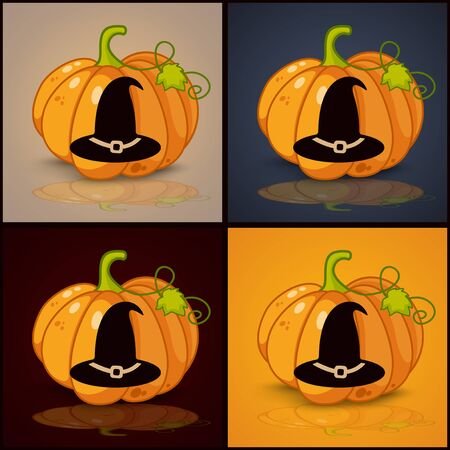 smilling: witch hat, banner and background for pumpkins for Halloween