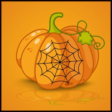 smilling: spider web and background for pumpkins for Halloween Illustration