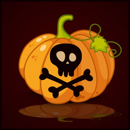 crossbones: skull and crossbones  and background for pumpkins for Halloween Illustration
