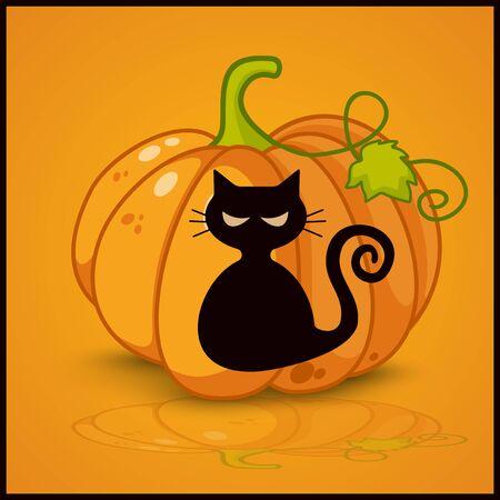 gatto, banner e sfondo per le zucche per Halloween