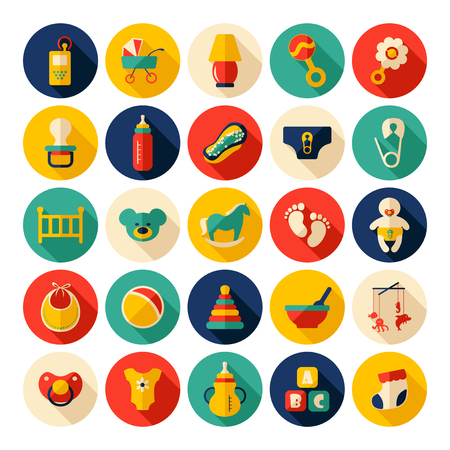 baby rattle: Baby symbols collection. Flat icons. Nursery Equipment