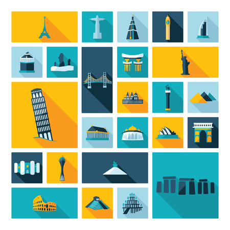 easter island: Flat concept design with shadow sights of world famous monuments