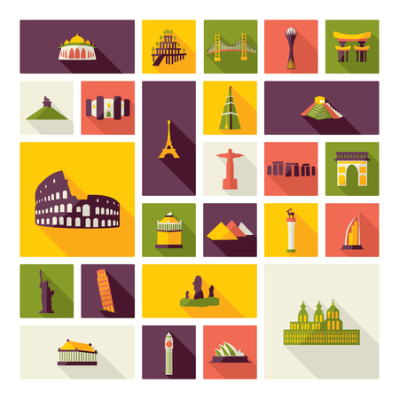 abbey: Flat concept design with shadow sights of world famous monuments