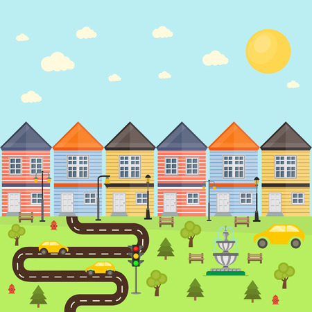 brightly: brightly colored houses with the track and lawn Illustration