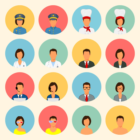 economists: Silhouettes of people of different professions police chefs doctor economists call center operators theater students Visitors without image. Illustration