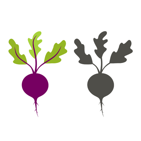 silhouette beet color and black on a white background