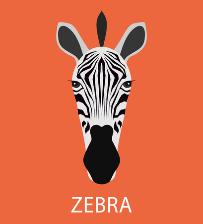 zebra head: Abstract cartoon zebra portrait. Funny childish zebra head isolated on blue. Flat zebra portrait for card, placard, invitation, book, poster, note book, sketch book.