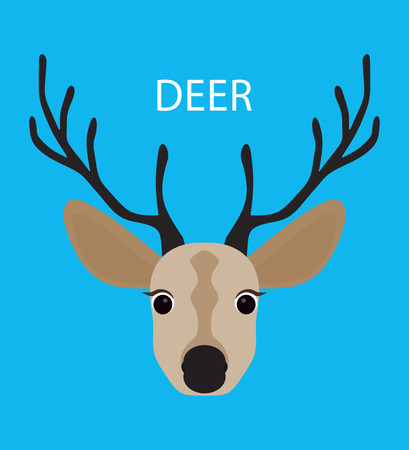 gaze: Deer. Abstract Deer. Cartoon deer. Deer portrait isolated on blue. Nature and wild theme. Graphic deer head. Deer gaze. Deer closeup. Deer portrait for card, book, sketch book, note book. Illustration