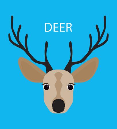 horny: Deer. Abstract Deer. Cartoon deer. Deer portrait isolated on blue. Nature and wild theme. Graphic deer head. Deer gaze. Deer closeup. Deer portrait for card, book, sketch book, note book. Illustration