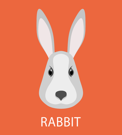 coward: Abstract flat rabbit. Cartoon rabbit portrait isolated on red. Nature, animal, wildlife theme. Graphic rabbit painted in imaginary color for card, book, poster, banner. Forest animal collection Illustration