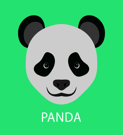 panda cartoon: Abstract panda. Cartoon childish panda portrait isolated on green. Nature, animal and wildlife theme. Graphic flat panda icon for card, book, invitation, poster, banner. Wild animal collection. Illustration
