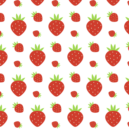 fruit candy: pattern of watercolor strawberries - vector illustration