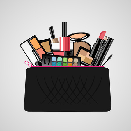 beautician: Makeup bag with beautician tools
